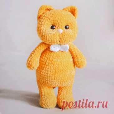 Плюшевый кот Персик крючком | Амигуруми
