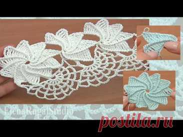 Сrochet Spiral Flower Lace Tape  Tutorial 23 Part 2 of 2