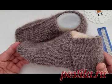 Носки вязаные на двух спицах два одновременно