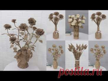 5 Beautiful and Simple Jute flower vase  | Home decorating ideas