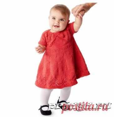 Платье – цветок спицами для малютки