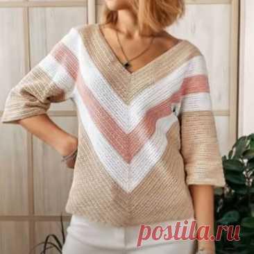 Как связать пуловер крючком с треугольным узором