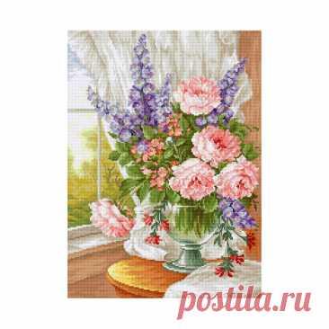 Крест стежок Kit Розовые цветы у окна Лука-с Современный Декор | Etsy