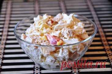 Салат из курицы с пекинской капустой, кукурузой и ананасами рецепт с фото пошагово - 1000.menu
