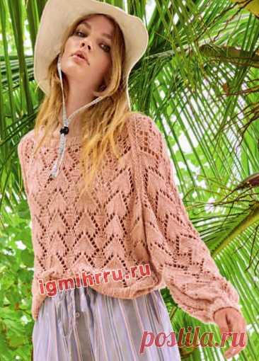 Пудрово-розовый хлопковый пуловер с ажурным узором. Вязание спицами со схемами и описанием
