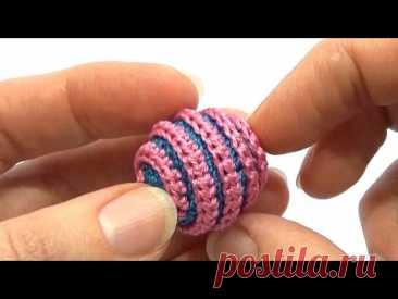 Рельефная обвязка бусины для слингобус (МК №6) // Relief Crochet Beads Tutorial