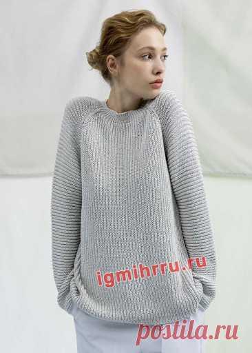 Удобный и практичный пуловер с полупатентной резинкой и рельефным узором