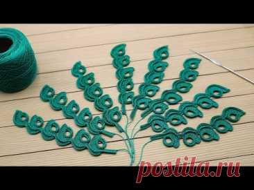 Веточка МОТИВ крючком МАСТЕР-КЛАСС по вязанию СХЕМА элемента для ирландского кружева Crochet motif