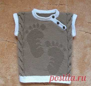 Детская безрукавка со следами. описание https://www.stranamam.ru/post/6627936/