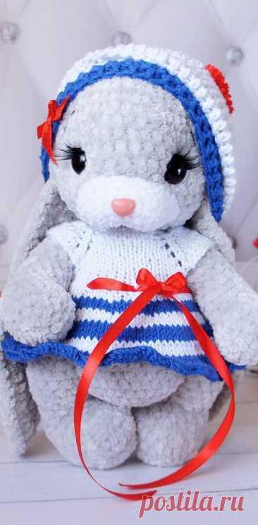 PDF Зайка Морячка крючком. FREE crochet pattern; Аmigurumi doll patterns. Амигуруми схемы и описания на русском. Вязаные игрушки и поделки своими руками #amimore - Заяц, зайчик, кролик, зайчонок, зайка, крольчонок.