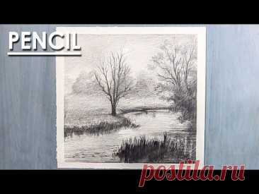 Pencil Drawing : How to Draw A Misty Landscape