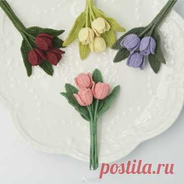 Маленький букетик тюльпанов, вяжем крючком