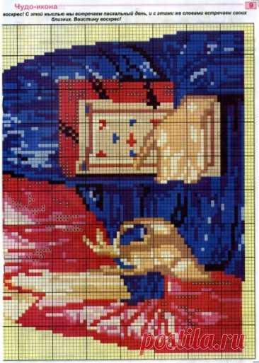 Ч2 цветная схема с подборкой цветов ниток для вышивки крестиком бисером.  Господь. Вседержатель