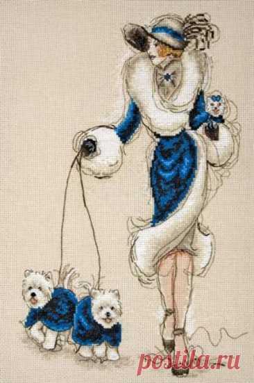 Anchor 5678000-01033 Wild westies III- схема для вышивки крестом дамы с собачками - Дикие