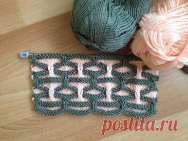 Оригинальный двухцветный узор. Вязание спицами. | Марусино рукоделие | Яндекс Дзен