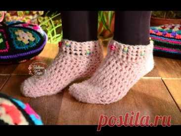 (Носки, Петля и Рококо) Пошаговое вязание крючком