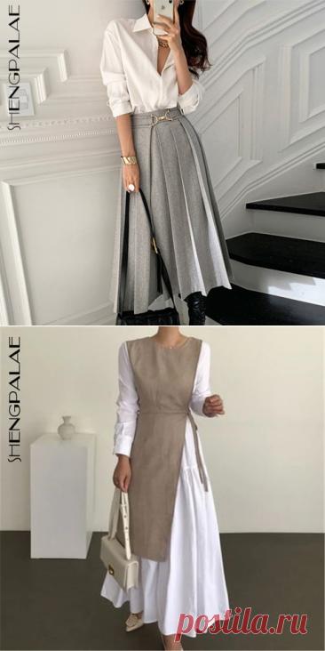 SHENGPALAE Свободная рубашка с длинными рукавами и отворотом + шерстяная плиссированная юбка с высокой талией и кольцами на пуговицах комплекты из двух предметов для женщин на весну 5A1307| | | АлиЭкспресс
