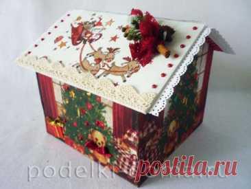 Новогодний домик для конфет с сюрпризом