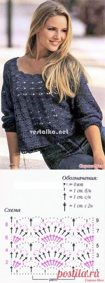 Темно-синий пуловер с рукавами до локтей. - Все в ажуре... (вязание крючком) - Страна Мам