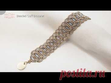 Beaded Cuff Bracelet. Beads Jewelry Making. Beading Tutorials. Handmade.
