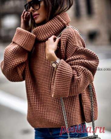 Простая схема свитера вафельным узором спицами