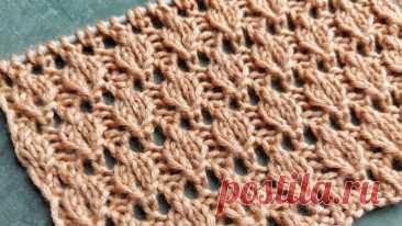 Универсальный фактурный узор в виде мелких листиков для вязания летних топов, маек, футболок, свитеров, джемперов, кардиганов, сарафанов, туник, палантинов, пледов...