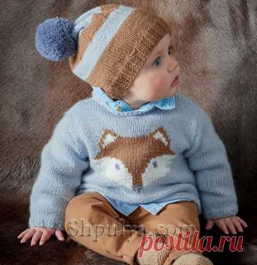 Пуловер жаккардом, шапочка, пинетки для малыша - SHPULYA.com