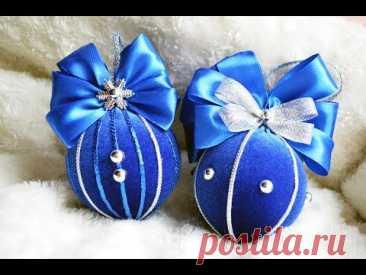 Как обтянуть тканью пластиковый новогодний шар/ How to wrap a plastic Christmas ball