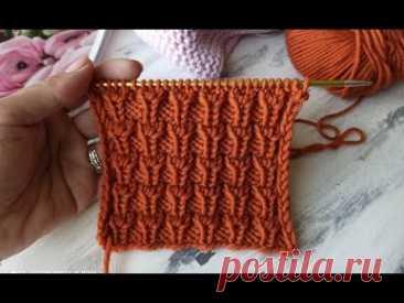 Простой, теплый, рельефный узор для вязания спицами.
