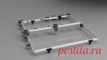 Самостоятельное проектирование и сборка лазерного гравера больших размеров Благодаря этой статье, мы с вами научимся не только изготавливать большой и легкий лазерный гравер мощностью 7,5 Вт, но и научимся работать в программе Autodesk Fusion 360.Этот станок с ЧПУ, позволяет кроить большие листы ткани для изготовления одежды, резать фанеру до 0,7 см толщиной, резать