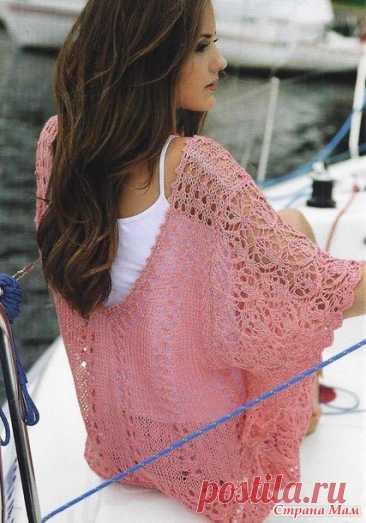 Летний ажурный пуловер спицами