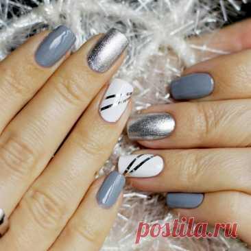 Ногти дизайн 2021 зима новинки металлик серебро