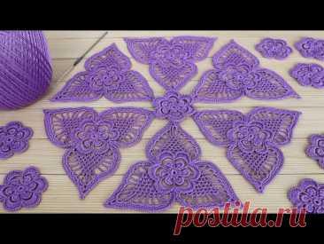 Треугольный МОТИВ крючком МАСТЕР-КЛАСС по вязанию СХЕМА мотива для ирландского кружева Crochet motif