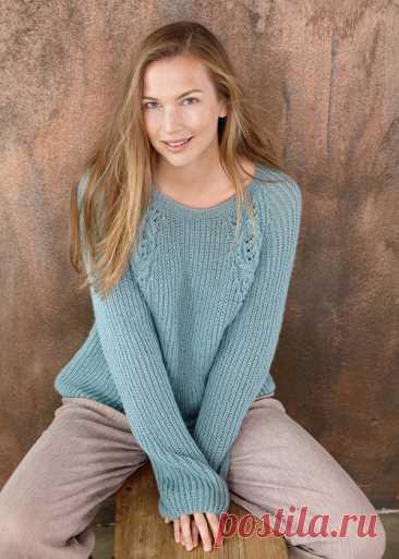 Вязаный пуловер «Реглан с узорной панелью»