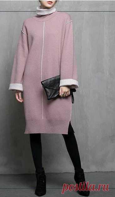 Теплые платья просторных фасонов. Идеи для шитья  #прошитье #платье #идеи