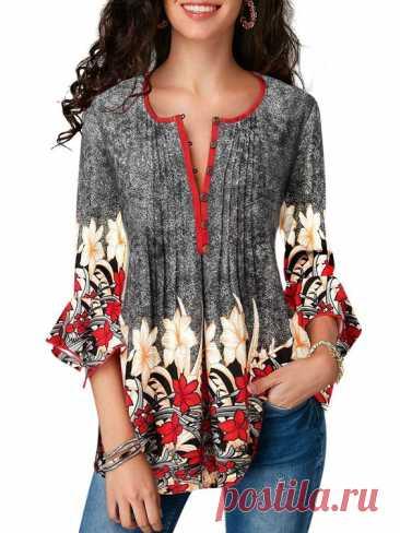 Plus Size Women 3/4 Ruffle Sleeve Casual Tops Blouses Shirts Floral Print Button Down T-Shirt Slim Fit Shirt S-5XLGender: Women Woman,Ladies Lady,FemaleStyle: Women Top,T-Shirt,Blouse,Shirt,TeePattern…