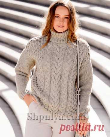 Пуловер с «Косами» и воротником гольф — Shpulya.com - схемы с описанием для вязания спицами и крючком