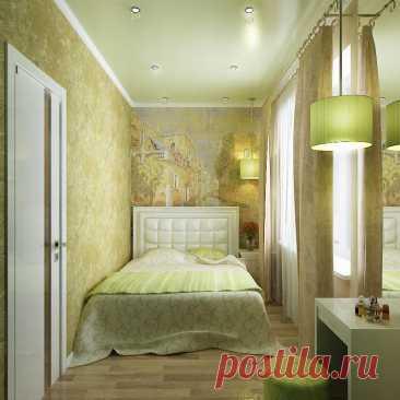 Дизайн узкой спальни. Много идей