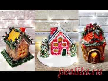 НОВОГОДНИЕ ДОМИКИ своими руками С ПОДСВЕТКОЙ.3 ИДЕИ как сделать ДОМИК. CHRISTMAS HOUSE. 3 IDEAS.DIY.