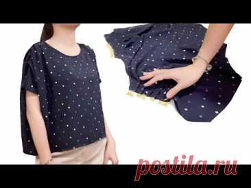 Очень просто Крой и пошив простой блузки | Сделай сам укороченный топ / рубашка / блузка