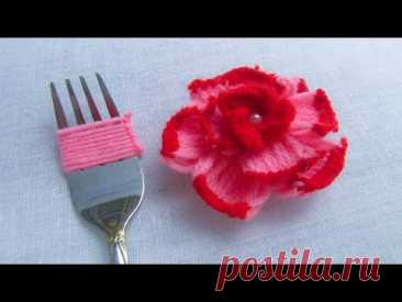 Modern Hand Embroidery , Easy Flower Embroidery Trick with Fork, Rose Flower - YouTube