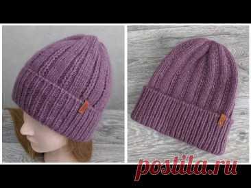 Женская шапка с отворотом спицами