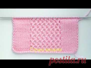 Узоры спицами. Самая простая сеточка. Knitting patterns. The simplest mesh.