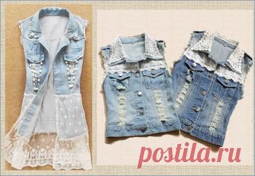 Переделка: джинсовый жилет из джинсовой куртки или рубашки - 50 примеров отделки в коллажах | МНЕ ИНТЕРЕСНО | Яндекс Дзен