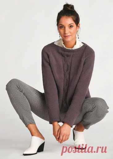 Пуловер со встречной складкой на спинке.