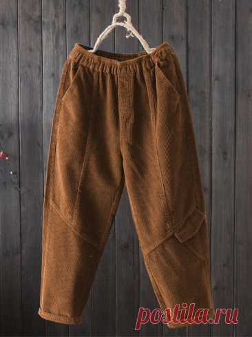 Винтаж Вельветовые свободные однотонные брюки-гарем с карманами Ваш друг поделился с вами модным сайтом и дает вам скидку до 20%! требуй это сейчас.