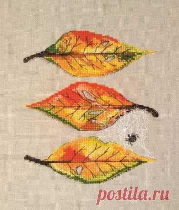 схема для вышивки крестом натюрморта Осенние листья