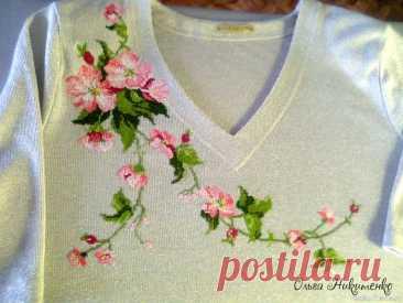 Дикая роза - вышивка крестиком - украшаем одежду | Вальс цветов 2021