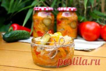 Салат Кубанский на зиму с капустой рецепт с фото пошагово и видео - 1000.menu