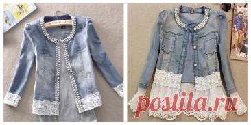 Стильные жакеты из джинсы - ткань и кружево: Как это красиво